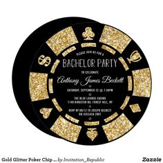 Shop Gold Glitter Poker Chip Las Vegas Bachelor Party Invitation created by Invitation_Republic. Bachelor Party Invitations, Zazzle Invitations, Birthday Party Invitations, Invites, Gala Invitation, Casino Night Party, Casino Theme Parties, Party Themes, 80s Party