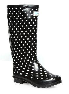 Evans Black Polka Dot Wellington Boots - www.evans.co.uk