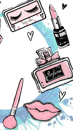 Wall Paper Girly Chic Iphone 44 Ideas For 2019 Makeup Wallpapers, Cute Wallpapers, Best Procreate Brushes, Beauty Dish, Makeup Illustration, Makeup Drawing, Web Design, Logo Design, Diy Blog