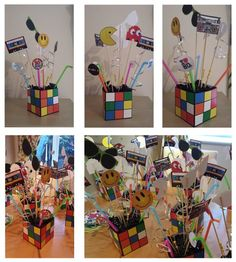 Rubik Cube exploding boxes table centerpieces (80's theme). Could make a cute Silent Auction item using this idea.