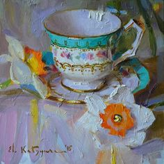 Cup and daffodils in oil