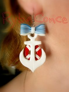 Earrings from polimer clay. The Anchor by RybaColnce on Etsy, $12.00