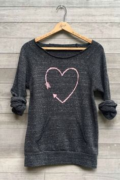 I Love You More Heart Sweatshirt. Cute cozy shirt to wear while canoodling next to your Valentine :). #affiliate #valentinesday #cozy