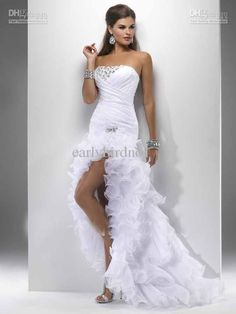 2013 New Arrival Short Front Long Back White Wedding Dresses Ruffles Destination Simple Hi Lo Summer Beach Bridal Gowns P4707