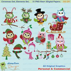 Item ID: CLS-0136  More owl clip art at:  http://www.etsy.com/shop/garrylain?section_id=12066693    Happy Christmas owl clip art; 51 PNG files; 6