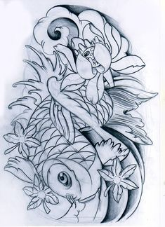 koi fish unfinished by WillemXSM on DeviantArt Japanese Koi Fish Tattoo, Koi Fish Drawing, Fish Drawings, Tattoo Drawings, Koi Tattoo Design, Tattoo Designs, Kio Fish Tattoo, Fish Tattoos, Koi Kunst