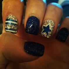 Toe Nail Designs, Acrylic Nail Designs, Acrylic Nails, Football Nail Art, Football Themes, Dallas Cowboys Nails, Cowboy Nails, Fall Nails, Toe Nails