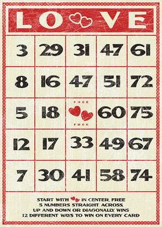 All sizes | Free Valentines vintage style bingo card | Flickr - Photo Sharing!