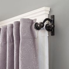 Kenney 48 in. - 86 in. Telescoping 5/8 in. Double Curtain Rod Kit in Black with Ball Finial