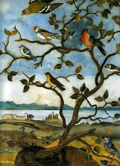 Detail of part of a pietre dure tabletop with landscape and birds, Florentine, ca. 1650.