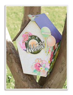 Birdhouse built with chipboard Crate Paper, Mother Goose, Bookbinding, My Children, Bird Houses, Scrapbook Paper, Crates, Chipboard, Projects