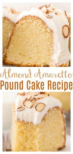 Amaretto Pound Cake Recipe, Amaretto Cake, Pound Cake Recipes, Almond Cream Cake Recipe, Amaretto Drinks, Just Desserts, Delicious Desserts, Dessert Recipes, Yummy Food