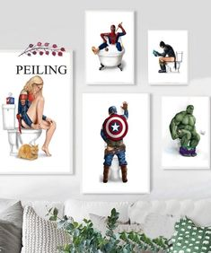 """""""Captain America Hulk Batman Spiderman Wall Art Canvas Painting Nordic Posters And Prints Wall Pictures For Bathroom Toilet Decor"""" Spiderman Wall Art, Batman Spiderman, Bathroom Toilet Decor, Bathroom Wall Art, Canvas Pictures, Wall Pictures, Canvas Wall Decor, Bathroom Pictures, Living Room Pictures"""