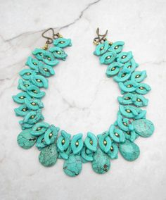 Turquoise Statement Necklace.Chunky Necklace.Bold Necklace.Turquoise Collar.Turquoise Fringe.Bohemian Necklace.Multi Strand Necklace. GO BIG