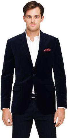 $389, Navy Velvet Blazer: Club Monaco Grant Velvet Blazer. Sold by Club Monaco. Click for more info: https://lookastic.com/men/shop_items/9252/redirect