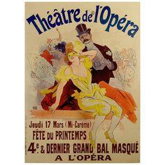 French Belle Époque Period Poster for Théâtre de l'Opera by Jules Cheret 1897.