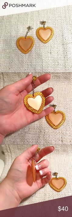 Tarina Tarantino yellow heart dangles EUC golden yellow lucite hearts with rhinestone details. All stones in tact, no visible crackle on these ones!! Tarina Tarantino Jewelry Earrings