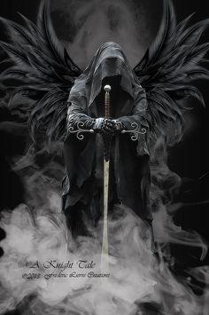 angel of death black wings hooded face sword, grim reaper angel of death black wings hooded face sword, grim reaper Grim Reaper Art, Grim Reaper Tattoo, Dark Fantasy Art, Dark Art, Evvi Art, Archangel Tattoo, Knight Tattoo, Warrior Tattoos, Angel Warrior Tattoo