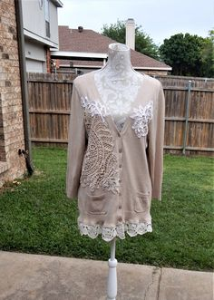 Refashioned Altered Cardigan, beige creme sweater, shabby cottage chic lace doilies, Large, Feminine Dainty Sweater, Mori-Girl Style Sweater by CrossMyHeartBags on Etsy