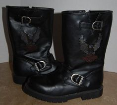 Harley Davidson Youth size 5 Black Buckles Zipper Faux Leather Boots Eagle #HarleyDavidson #Boots