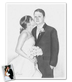 Hand Drawn Pencil Sketch from Photos - The most romantic wedding gift you could ever give or receive. Beautiful Pencil Sketches, Cool Sketches, Romantic Wedding Gifts, Most Romantic, Pencil Sketch Portrait, Sketch Paper, Hand Drawn, Wedding Photos, How To Draw Hands