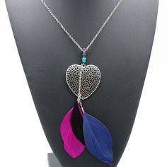 Ethnic Long Feather Pendant Necklace Bohemian Vintage Maxi Statement Necklaces & Pendants Heart Shaped Collares Collier Femme