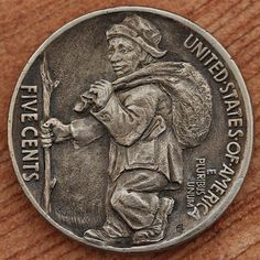 A Tramp token five cents shows a midget tramp taking to the road. Old Coins, Rare Coins, Hobo Nickel, Coin Art, Error Coins, Armies, Coin Collecting, Leather Craft, Metal Art