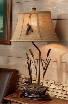 Mallard Duck & Cattails Table Lamp Bird Call Accent Rustic Cabin Lodge Decor #NA #RusticLodge
