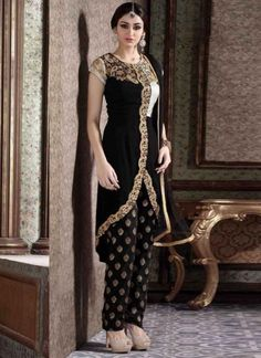 Magical Black Embroidery Work Georgette Jacquard Pakistani  Suit http://www.angelnx.com/Salwar-Kameez/Pakistani-Suits
