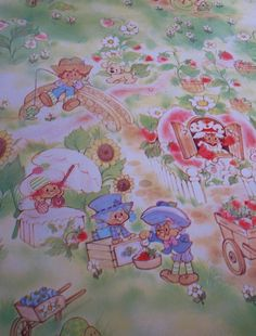 The wallpaper in my daughter's bedroom.  Strawberry Shortcake vintage wallpaper