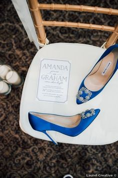 Wedding shoes ideas - blue, bright, bold, rhinestone, glam {Laurel Creative}