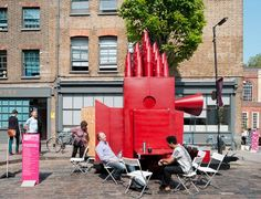 The SMALL-COAL-MAN'S Tiny Travelling Theatre, by aberrant architecture, gave its debut performance at this year's Clerkenwell Design Week 2012. / Tiny Travelling Theatre, Clerkenwell, London, England