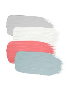 Winter Day by Behr, Simply White by Benjamin Moore, Coral Gables by Benjamin Moore, Palladian Blue by Benjamin Moore.