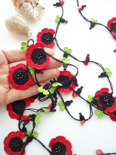 Items similar to Glass Beaded and Crocheted Necklace, colorful necklace, oya necklace, hand crochet necklace, handmade gift on Etsy Crochet Flower Patterns, Crochet Flowers, Knitted Necklace, Crochet Earrings, Irish Crochet, Hand Crochet, Collar Hippie, Crochet Poppy, Lariat Necklace
