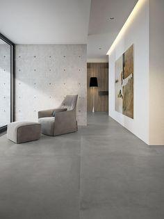Grande concrete look - Imitation Béton - Salon Grey Floor Tiles, Ceramic Floor Tiles, Grey Flooring, Porcelain Tile, Large Floor Tiles, Modern Floor Tiles, Ceramic Flooring, Porcelain Skin, Modern Flooring