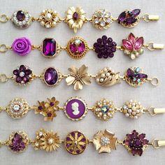 Amethyst plum pearl bracelets vintage by ChicMaddiesBoutique