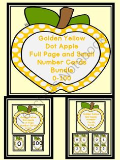 Golden Yellow Dot Apple Number Flashcards and Posters Bundle 0-100 from My Kinder Garden on TeachersNotebook.com (259 pages)  - Here is the golden yellow apple number cards in a bundle. The bundle includes both the Golden Yellow Apple Full Page Number Cards 0-100 and Golden Yellow Apple Number Cards 0-100 (small cards).