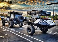 Fantastic jeep with light weight camping trailer. Everything has a roll cage, this one looks like it's ready for overlanding adventures. Expedition Trailer, Overland Trailer, Off Road Camping, Jeep Camping, Off Road Trailer, Trailer Build, Kayak Trailer, Offroad, Adventure Trailers