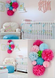 Nursery pom poms on pinterest crib bumper tutorial pom for Pom pom room decor