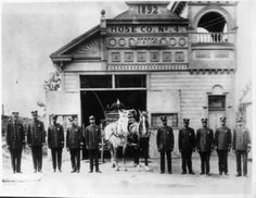 "Referred to as ""The Hill,"" Chemical Co. No. 1 was closed in 1907 and Hose Company No. 4 went into service in the same station with the same all black crew. In this photo, the firemen of Hose Company No. 4 pose in front of the station circa 1910 :: Dunbar Economic Development Corporation Collection, 1880-1986"