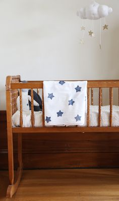 DIY Star Printed Muslin Swaddle Blanket