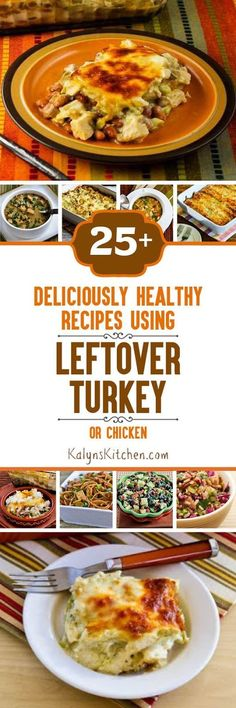 Twenty-Five+ Deliciously Healthy Recipes Using Leftover Turkey (or chicken); many of these delicious ideas are low-carb and/or gluten-free.  [KalynsKitchen.com]