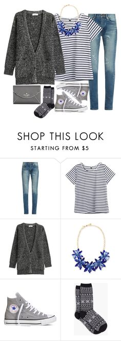 """""""Today's School Outfit / It's Snowing!"""" by thesabriner ❤ liked on Polyvore featuring Yves Saint Laurent, Closed, Kate Spade, Converse and Talbots"""