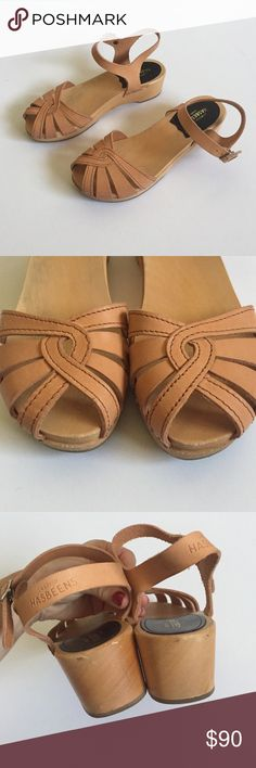 Swedish Hasbeens Crossover Debutante In Nature Minimal wear. In excellent condition with minor nicks on wood. The leather on the inside of the right ankle strap began to stretch and tear a little, but I had it repaired. Last photo shows repair and price reflected. These fit a 5.5/6! Swedish Hasbeens Shoes Sandals