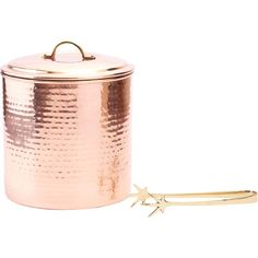 Complete your home bar in elegant style with this copper-plated stainless steel ice bucket, including serving tongs.Product: Ice ...