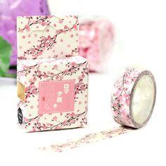 15MM*7M Adhesive Scrapbooking Label Masking Sticker Washi Tape Romantic Sakura #Unbranded