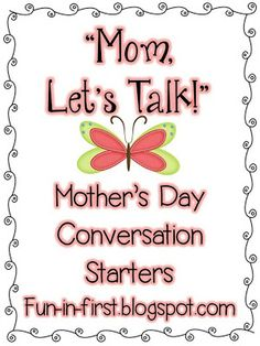 Mother's Day Tea  conversation starters. - Pinned by @PediaStaff – Please Visit ht.ly/63sNtfor all our pediatric therapy pins