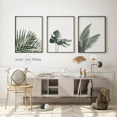 Herb Art, Plant Wall Decor, Leaf Wall Art, Art Prints For Home, Watercolor Plants, Palm Print, Tropical Leaves, Leaf Prints, Minimalism