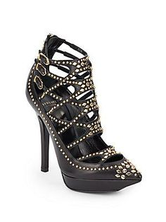Versace Studded Cutout Leather Point Toe Booties - Black - Size 36.5 (
