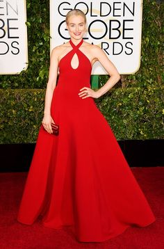 Taylor Schilling wearing a red Ralph Lauren gown and Salvatore Ferragamo heels at the 72nd Annual Golden Globes